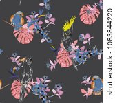 trendy tropical floral print.... | Shutterstock .eps vector #1083844220