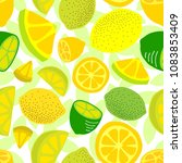 seamless background with lemons | Shutterstock .eps vector #1083853409