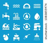 set of 16 water filled icons... | Shutterstock .eps vector #1083855974