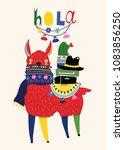 hola llama. cute vector... | Shutterstock .eps vector #1083856250