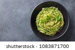 pasta spaghetti with pesto... | Shutterstock . vector #1083871700