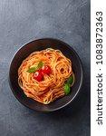 pasta  spaghetti with tomato... | Shutterstock . vector #1083872363