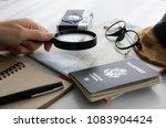 select destination women's hand ... | Shutterstock . vector #1083904424