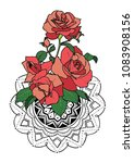 roses and mandala pattern | Shutterstock .eps vector #1083908156