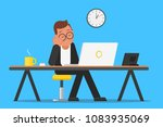 a worker sleeps at the office... | Shutterstock .eps vector #1083935069