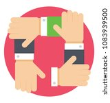 four hands connected with each ... | Shutterstock .eps vector #1083939500