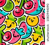 berries and fruits mix pattern  ... | Shutterstock .eps vector #1083944090