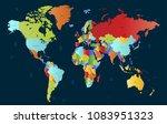 color world map  | Shutterstock .eps vector #1083951323