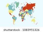 color world map  | Shutterstock .eps vector #1083951326