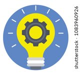 cog in bulb. flat icon of... | Shutterstock .eps vector #1083960926