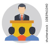 addressing audience. flat icon ... | Shutterstock .eps vector #1083961040