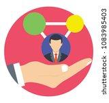 hand holding customer. flat... | Shutterstock .eps vector #1083985403