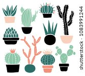 cactus and succulents set  cute ... | Shutterstock .eps vector #1083991244