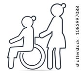 nurse pushing wheelchair of... | Shutterstock .eps vector #1083997088