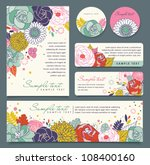 Stock vector card templates with flowers background 108400160