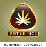 golden emblem with weed leaf... | Shutterstock .eps vector #1084038824
