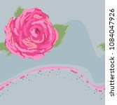 style pink rose on gray...   Shutterstock .eps vector #1084047926