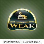 golden badge with bench press ... | Shutterstock .eps vector #1084051514