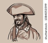 pirate with hat. portrait.... | Shutterstock .eps vector #1084053599