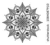 mandala coloring  black and... | Shutterstock .eps vector #1084087910