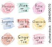types of herbal tea lettering... | Shutterstock .eps vector #1084090070