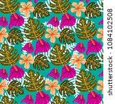 summer tropical seamless... | Shutterstock .eps vector #1084102508