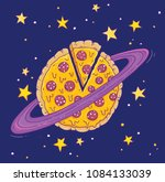 a cartoon pizza planet  vector... | Shutterstock .eps vector #1084133039