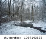 pond in the snowy wood | Shutterstock . vector #1084143833