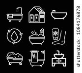 set of 9 bathroom outline icons ... | Shutterstock .eps vector #1084176878
