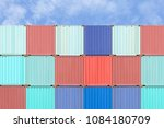 colorful stack of container...   Shutterstock . vector #1084180709