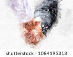 abstract business handshake on... | Shutterstock . vector #1084195313