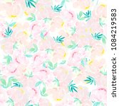 watercolor painting in peony... | Shutterstock . vector #1084219583
