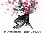 beautiful woman. fashion... | Shutterstock . vector #1084254206