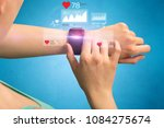 female hand with smartwatch and ... | Shutterstock . vector #1084275674
