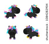 little unicorns in modern flat... | Shutterstock .eps vector #1084282904