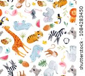 Cute Watercolor Pattern Safari...