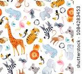 cute watercolor pattern safari  ... | Shutterstock . vector #1084283453