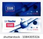set of gift travel voucher... | Shutterstock .eps vector #1084305326