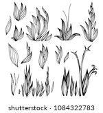 set of vector black flower... | Shutterstock .eps vector #1084322783