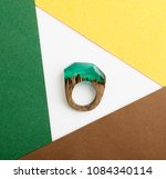 green ring made of wood and... | Shutterstock . vector #1084340114