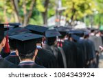 the shot of graduation hats and ... | Shutterstock . vector #1084343924