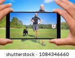 woman with mobile phone photos... | Shutterstock . vector #1084346660