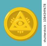 money gold coin icon. the coin... | Shutterstock .eps vector #1084349678