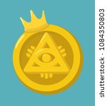 money gold coin icon with crown.... | Shutterstock .eps vector #1084350803