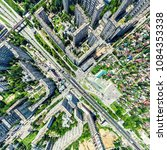 aerial city view with... | Shutterstock . vector #1084353338