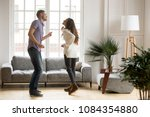 young romantic carefree couple... | Shutterstock . vector #1084354880