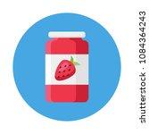 strawberry jam in glass jar...   Shutterstock .eps vector #1084364243