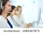 smiling businesswoman or... | Shutterstock . vector #1084367873
