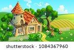 fantastic house tower in garden.... | Shutterstock .eps vector #1084367960