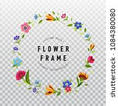 floral wreath on transparent... | Shutterstock .eps vector #1084380080